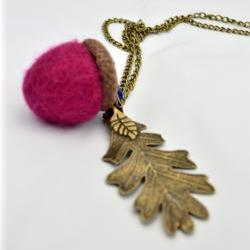 Autumn felt Acorn Necklace in fuchsia pink- waldorf